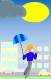 A chuva acaba-se A menina de sorriso com guarda-chuva aprecia The Sun Imagens de Stock