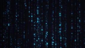 A chuva azul da matriz de digital ENCANTA o código Fotos de Stock Royalty Free