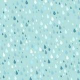 A chuva colorida sem emenda deixa cair a ilustração azul do sumário do pingo de chuva da natureza da água do vetor do fundo do te Imagem de Stock