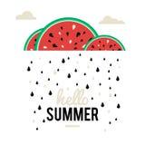 Chuva da melancia da ilustração Foto de Stock Royalty Free
