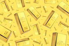 Chuva das barras de ouro no fundo do ouro fotografia de stock