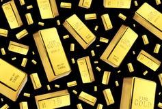 Chuva das barras de ouro no fundo preto imagens de stock