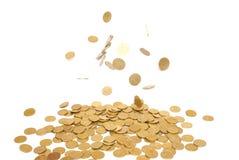 Chuva de moedas douradas Fotos de Stock