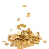 Chuva de moedas douradas Fotografia de Stock Royalty Free