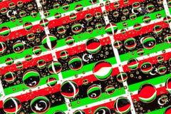 A chuva deixa cair completamente de bandeiras de Líbia Fotografia de Stock Royalty Free