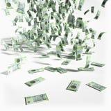 Chuva do dinheiro com 200 notas das coroas dinamarquesas Fotografia de Stock Royalty Free