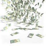 Chuva do dinheiro de 5 contas do Euro Imagens de Stock