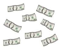 Chuva do dinheiro de 100 notas de dólar Imagens de Stock