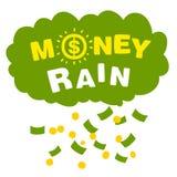Chuva do dinheiro do vetor com cédulas e moedas Ilustração Royalty Free