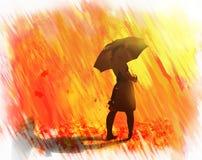 Chuva dourada das folhas de outono Imagens de Stock