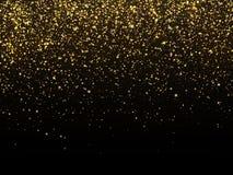 Chuva dourada isolada no fundo preto Papel de parede comemorativo da textura da grão do ouro do vetor ilustração do vetor