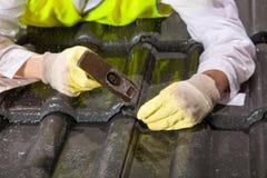 Trabalhador em telhas de telhado da fixação do telhado Fotos de Stock