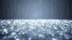 Chuva no fundo escuramente azul video estoque