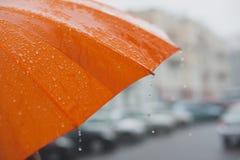 Chuva no guarda-chuva Imagens de Stock Royalty Free