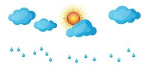 Chuva, sol, nuvens, grama, mola, vídeo ilustração stock