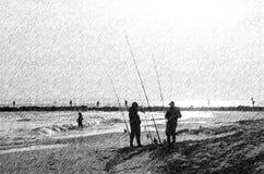 Chuva ventoso dos pescadores do ponto da pesca do ponto de New York City Imagem de Stock