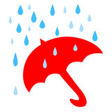 Chuva vermelha do guarda-chuva Imagem de Stock Royalty Free