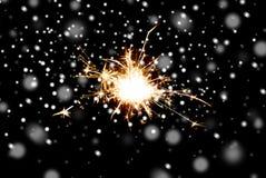 Chuveirinho ou luz de bengal que queima-se sobre o preto Imagem de Stock Royalty Free