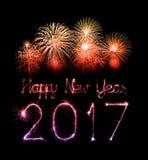 2017 chuveirinhos do fogo de artifício do ano novo feliz Fotografia de Stock Royalty Free