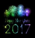2017 chuveirinhos do fogo de artifício do ano novo feliz Foto de Stock