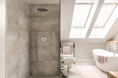 Chuveiro concreto no banheiro Imagens de Stock Royalty Free
