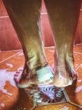 Chuveiro da tomada da mulher com o paster na bolha do salto imagem de stock