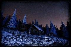 Chuveiro de meteoro fantástico do inverno e as montanhas neve-tampadas vi ilustração royalty free
