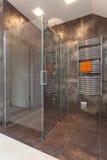Chuveiro de vidro no banheiro imagens de stock royalty free