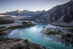 Chuya en Katun-rivieren Stock Foto's
