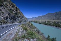 Chuya Highway along Katun river, Siberia Stock Image