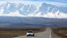 Chuya Highway, on a background of the mountain North-Chuya ridge of Altai Republic Royalty Free Stock Images