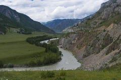Chuya River. Altai Mountains, Russia. stock photo