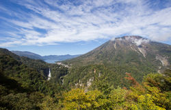 Chuzen-ji Lake,Kegon-no-taki Falls and Mt. Nantai seen from Akechi-daira Ropeway viewpoint,Nikko,Tochigi,Japan Royalty Free Stock Photos
