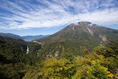 Chuzen-ji Lake,Kegon-no-taki Falls and Mt. Nantai seen from Akechi-daira Ropeway viewpoint,Nikko,Tochigi,Japan. Akechi-daira Ropeway viewpoint is the best royalty free stock images