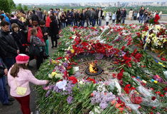 Chwała park na zwycięstwo dniu w Kijów obraz royalty free