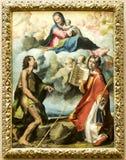 Chwalebnie dziewica między St John i St Stephen baptysta Obraz Royalty Free