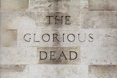 Chwalebnie Nieżywa inskrypcja na Cenotaph w Londyn zdjęcia stock