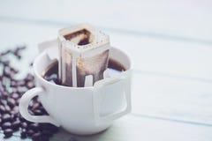 Chwila świeżo warząca filiżanka kawy Obrazy Stock