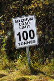 Chwila Maksymalny Obciążeniowy ograniczenie 100 Tonnes podpisuje Obrazy Stock