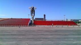 Chwilowy przegląda stojak przy plac tiananmen dla nadchodzącej militarnej parady w Pekin zdjęcia royalty free