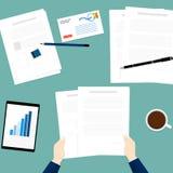 Chwyta papieru ręki vectorhold papierowego dokumentu ręki wierzchołka pastylki biznesowy płaski biznesowy wektor Obraz Royalty Free
