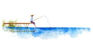 chwytający słońce Jezioro i molo royalty ilustracja