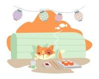 Chytry kot przy suszi barem ilustracja wektor