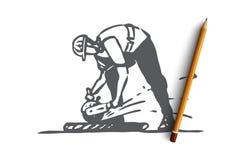 Ciący, płytka, pracownik, naprawianie, budowy pojęcie Ręka rysujący odosobniony wektor royalty ilustracja