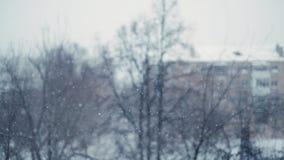 Ciężki opad śniegu w mieście Strzelać z bokeh skutkiem w zwolnionym tempie zdjęcie wideo