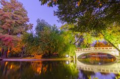 Autumn pastel. The Cișmigiu Park are a public park near the center of Bucharest, Romania, spanning areas on all sides of an artificial lake. The gardens& x27 Royalty Free Stock Images