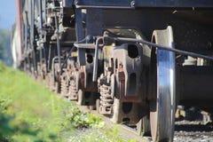 Ciérrese en las ruedas del carril del tren Fotografía de archivo libre de regalías
