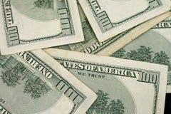 Ciérrese encima de billetes de dólar del americano ciento Fotografía de archivo libre de regalías