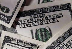 Ciérrese encima de cuentas de dólar de EE. UU. reales Fotografía de archivo