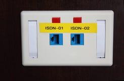 Ciérrese encima de entrada del Integrated Services Digital Network Foto de archivo libre de regalías